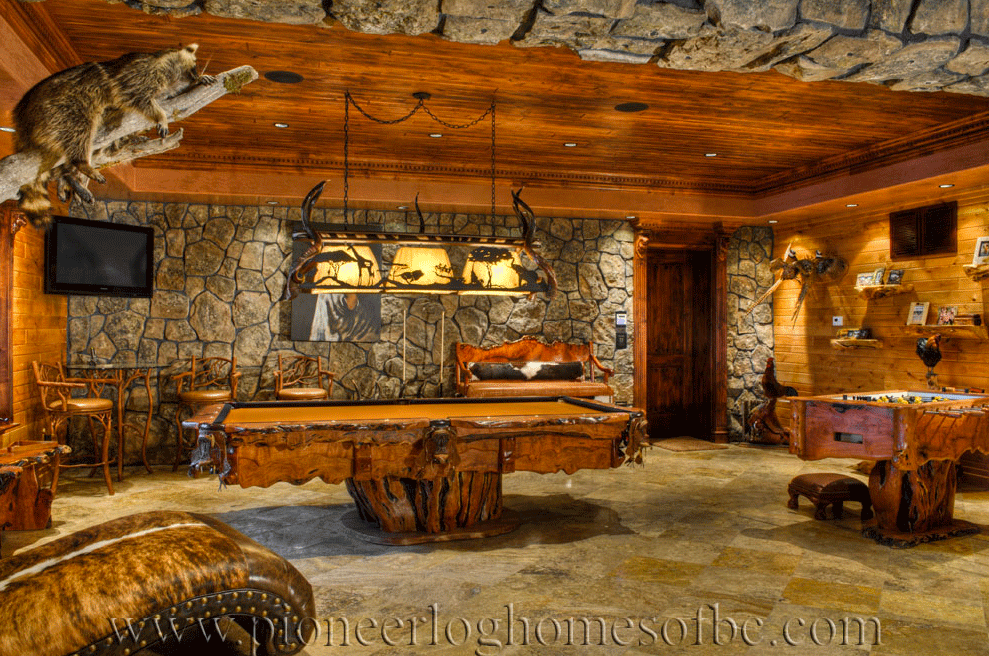gallery bars and game rooms pioneer log homes midwest. Black Bedroom Furniture Sets. Home Design Ideas