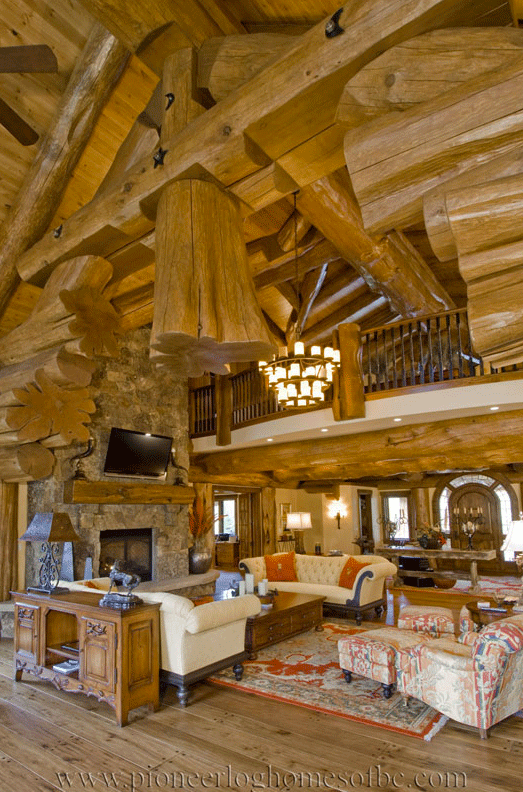 gallery living rooms and lofts pioneer log homes midwest. Black Bedroom Furniture Sets. Home Design Ideas