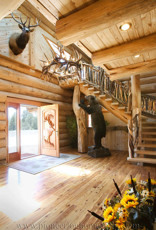 Gallery entrances and stairs pioneer log homes midwest for Midwest home builders